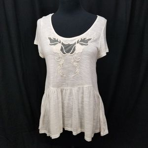 Free People M Ivory Peplum Mesh Floral Embroidery